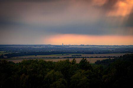 Leipzig city with stormy sky
