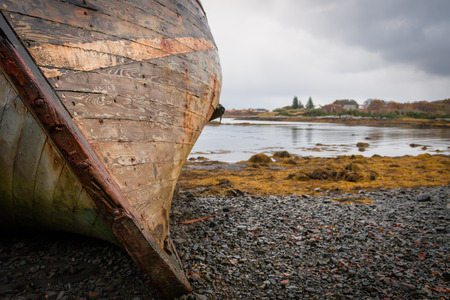 Two abandoned fishing boats in Salen Sound, Isle of Mull, Inner Hebrides, Scotland