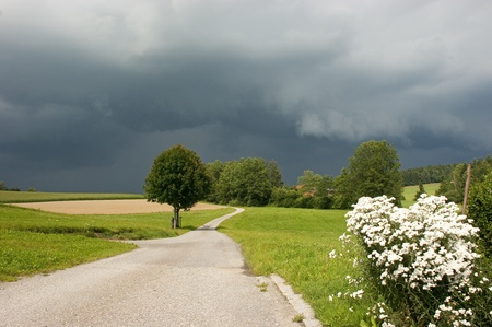 landscape with a little road before a thunder strom with dark\ sky