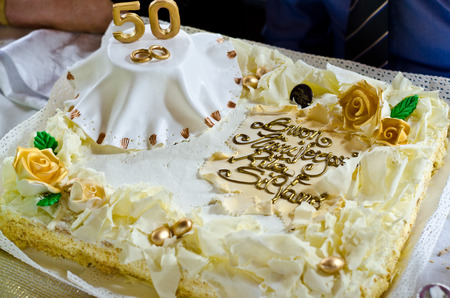 cream cake for anniversary of 50 years, golden wedding Stock Photo
