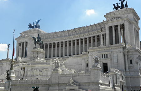 the grandeur of vittoriale in all its white splendor in Rome, Piazza Venezia