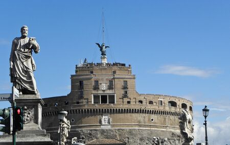 Castel SantAngelo: the summer residence of the Pope in Rome attached to the Vatican to Castel SantAngelo Stock Photo