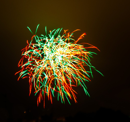 Fireworks display of fireworks on a summer evening Stock Photo