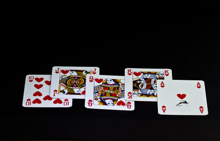 Poker cards: real scale of hearts