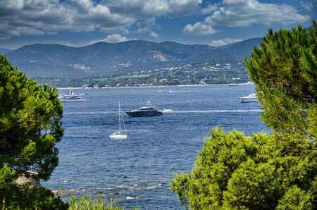 landscapes of saint tropez, pearl of the blue coast in france, the coast, the bell tower Stock Photo
