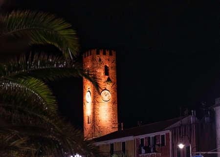 the clock tower in the maritime republic of Noli, in Liguria