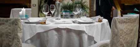 festively decorated tables for a wedding in full Italian tradition