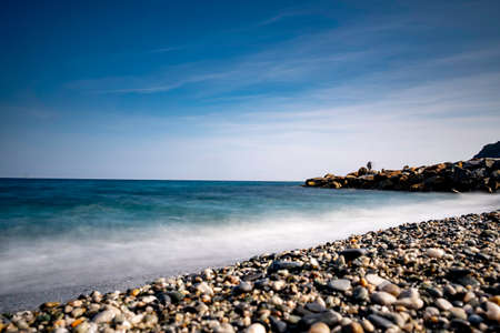sea landscapes with silk effect of the Ligurian coast of Noli