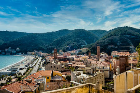 landscapes of the Ligurian coast in Noli, in the province of Savona. With its medieval towers and its history as a maritime republic