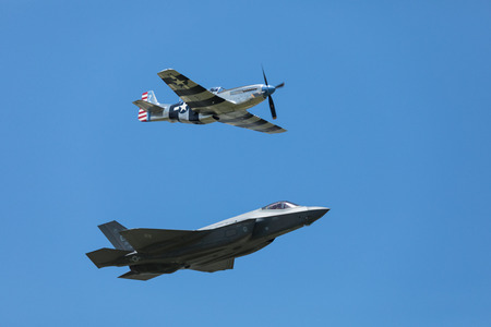Dayton, Ohio, USA - June 25, 2017 The Vectren Dayton Air Show, Performers and static displays.