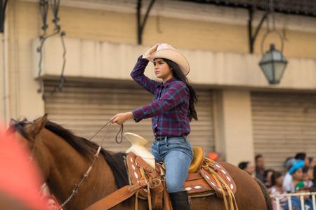 Matamoros, Tamaulipas, Mexico - February 24, 2018, Desfile Fiestas Mexicanas is part of the Charro Days Fiesta - Fiestas Mexicanas, A bi-national festival between USA and Mexico. 報道画像
