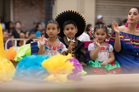Matamoros, Tamaulipas, Mexico - February 24, 2018, Desfile Fiestas Mexicanas is part of the Charro Days Fiesta - Fiestas Mexicanas, A bi-national festival between USA and Mexico. Editöryel