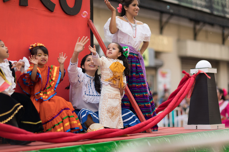 Matamoros, Tamaulipas, Mexico - February 24, 2018, Desfile Fiestas Mexicanas is part of the Charro Days Fiesta - Fiestas Mexicanas, A bi-national festival between USA and Mexico. 新闻类图片