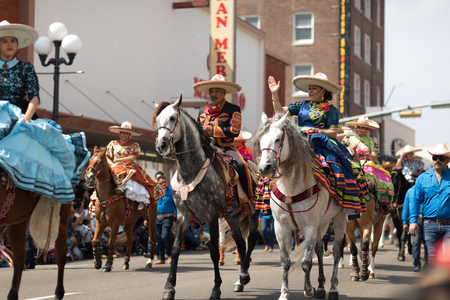 Brownsville, Texas, USA - February 24, 2018, Grand International Parade is part of the Charro Days Fiesta - Fiestas Mexicanas, A bi-national festival between USA and Mexico. Editöryel
