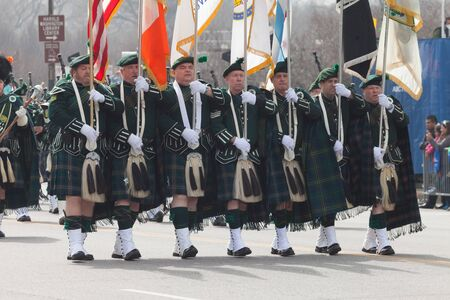 Chicago, Illinois, USA - March 12, 2016, The St. Patricks Day Parade is a cultural and religious celebration from Ireland in honor of  Saint Patrick.
