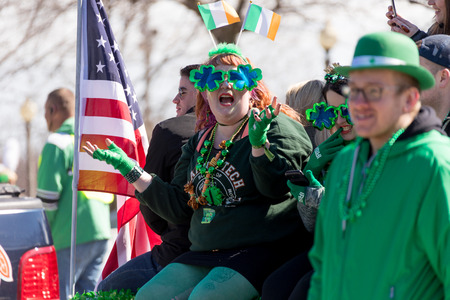 Chicago, Illinois, USA - March 17, 2018, The St. Patricks Day Parade is a cultural and religious celebration from Ireland in honor of  Saint Patrick.