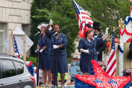 Washington, D.C., USA - July 4, 2015, The National Independence Day Parade is the  Fourth of July Parade in the capital of the United States, it  commemorates the adoption of the Declaration of Independence, only selected schools, and other groups partici