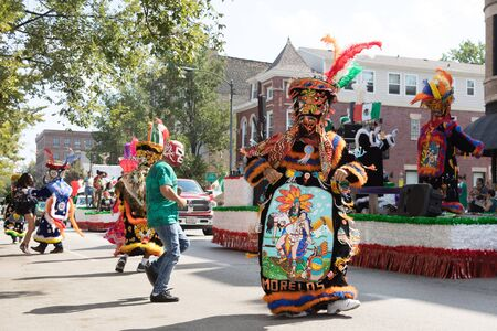 Chicago, Illinois, USA - September 16, 2017 - The Pilsen Mexican Independence Day Parade commemorates the Mexican Independence It features traditional folkloric, equestrian and Aztec dancing.