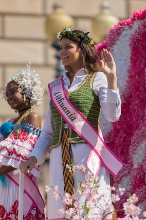 Washington, D.C., USA - April 14, 2018 Cherry Blossom Princesses in the 2018 National Cherry Blossom Parade