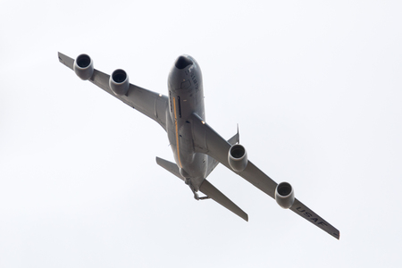 Louisville, Kentucky, USA - April 21, 2018 KC-135 Grissom fuel tanker plane does a fly by at the Thunder Over Louisville Editorial