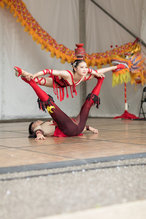 Columbus, Ohio, USA - May 27, 2018 Members of the Wuhan Acrobatic Troupe acrobatic team performs at the Asian Festival.