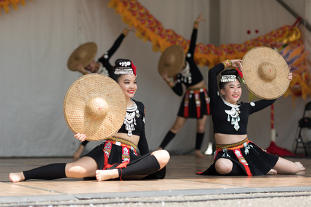 Columbus, Ohio, USA - May 27, 2018 Members of the Iny Asian Dance Theater group perform at the Asian Festival.