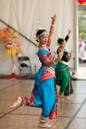 Columbus, Ohio, USA - May 27, 2018 The Kaustavi Movement dance group perform an  Indian classical dance at the Asian Festival. Editorial