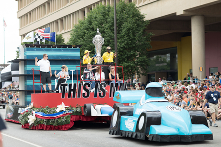 Indianapolis, Indiana, USA - May 26, 2018,  The indy 500 cup on a float, being carried along the road at the Indy 500 Parade