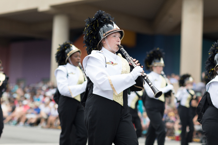 Indianapolis, Indiana, USA - May 26, 2018, Members of the Speedway High School Marching Band perform  at the Indy 500 Parade