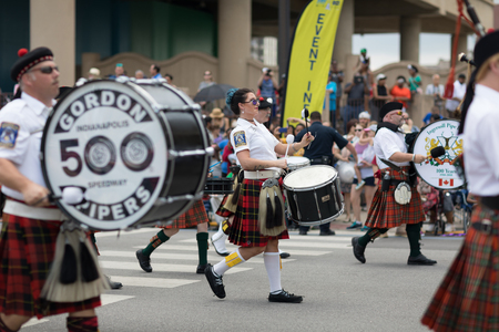 Indianapolis, Indiana, USA - May 26, 2018, The Indianapolis 500 Gordon Pipers perform at Indy 500 Parade