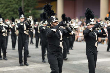 Indianapolis, Indiana, USA - May 26, 2018, Members of the black and gold marching band   at the Indy 500 Parade Editorial