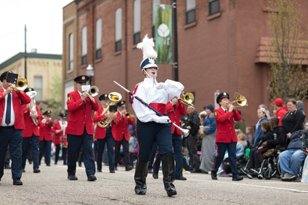 Holland, Michigan, USA - May 12, 2018 Members of the Holland American Legion Band, Established - 1920 perform at the Muziek Parade, during the Tulip Time Festival