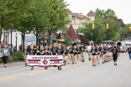 Frankenmuth, Michigan, USA - June 10, 2018 Members of the Cass City High School Marching Band perform at the Bavarian Festival Parade. Sajtókép