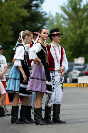 Whiting, Indiana, USA - July 28, 2018 Men and women wearing traditional slovak clothing perform traditional slovak dances at the Pierogi Fest Editorial