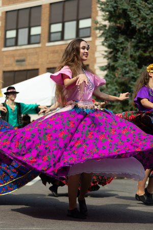 Whiting, Indiana, USA - July 28, 2018 Men and women wearing traditional slovak clothing perform traditional slovak gypsy dance at the Pierogi Fest