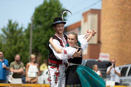 Whiting, Indiana, USA - July 28, 2018 Men and women wearing traditional slovak clothing perform traditional slovak dances at the Pierogi Fest Editöryel