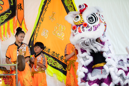 St. Louis, Missouri, USA - August 26, 2018: The Festival of Nations, Men women and children from the  International Shaolin Wushu Center perfrom traditional chinese lion dance. Editorial