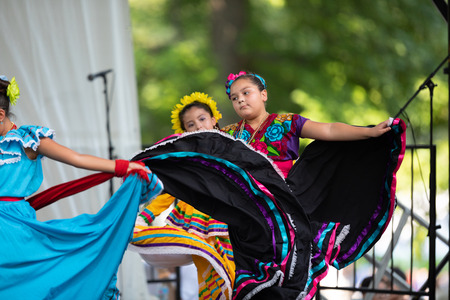 St. Louis, Missouri, USA - August 26, 2018: The Festival of Nations, Men women and children from the Alma de Mexico perform traditional Mexican dances. Editorial