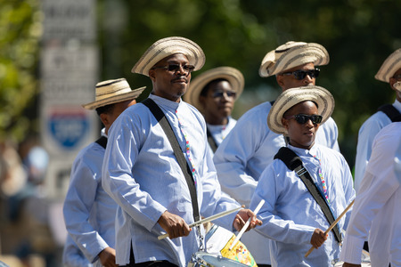 Washington, D.C., USA - September 29, 2018: The Fiesta DC Parade, Members of the First Panamanian Marching Band performing