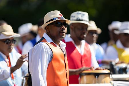 Washington, D.C., USA - September 29, 2018: The Fiesta DC Parade, Members of a panamanian marching band perform