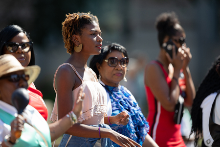 Washington, D.C., USA - September 29, 2018: The Fiesta DC Parade, Woman walking with the panamanian group during the parade 報道画像