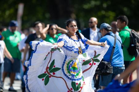 Washington, D.C., USA - September 29, 2018: The Fiesta DC Parade, Dancer wearing traditional clothing from el Salvador