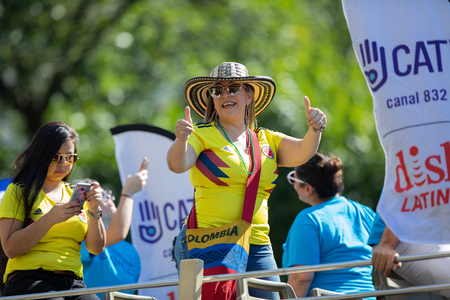 Washington, D.C., USA - September 29, 2018: The Fiesta DC Parade, Woman from Colombia wearing the national football team shirt