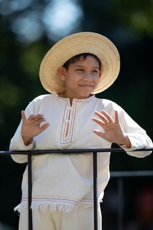 Washington, D.C., USA - September 29, 2018: The Fiesta DC Parade, Boy wearing traditional panamanian clothing