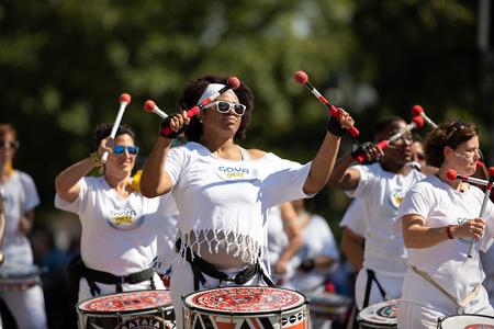 Washington, D.C., USA - September 29, 2018: The Fiesta DC Parade, Members of Batala Washington DC perform at the parade 報道画像