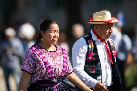 Washington, D.C., USA - September 29, 2018: The Fiesta DC Parade, Man and woman from guatemala wearing traditional guatemalan clothing Editorial