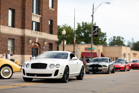 Auburn, Indiana, USA - September 9, 2018 The Auburn Cord Duesenberg Festival, Bentley Continental on the streets of Auburn during the exotic car exhibite