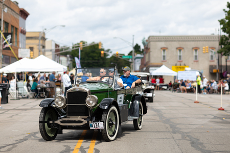 Auburn, Indiana, USA - September 9, 2018 The Auburn Cord Duesenberg Festival, A Cord classic car driving down the street during the parade