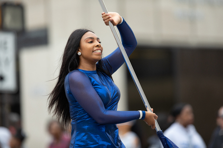 Indianapolis, Indiana, USA - September 22, 2018: The Circle City Classic Parade, African american cheerleader from Howard University dancing during the parade