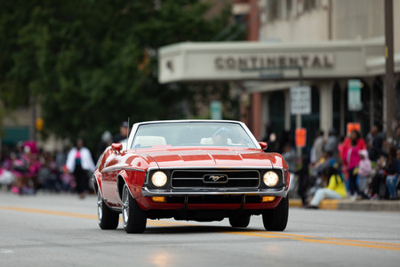 Indianapolis, Indiana, USA - September 22, 2018: The Circle City Classic Parade, A Ford Mustang classic sports car going down the road